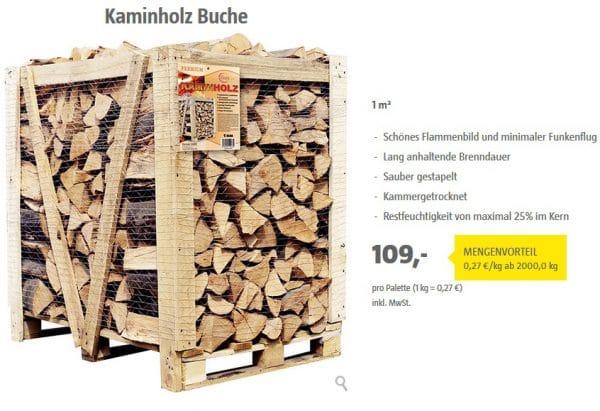 1 Schichtraummeter Kaminholz, wie es z.B. BAUHAUS verkauft - Bild: Bauhaus