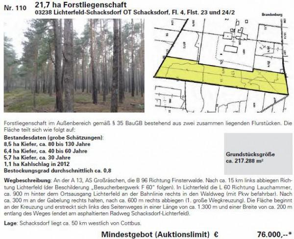 21,7 ha Forstliegenschaft - Bild: Karhausen