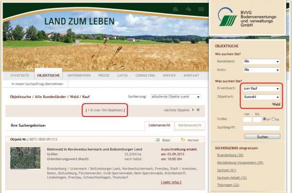 Wald kaufen von der BVVG - Screenshot: www.bvvg.de