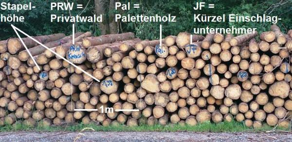 Bei Holz das z.B. in die Produktion von Spanplatten geht, wird nicht jeder einzelne Stamm aufgenommen; mit je einem Meter Abstand wird die Höhe des Stapels gemessen und über die Stammlänge wird dann die Anzahl der Raummeter je Stapel-Abschnitt errechnet - Bild: Wald-Prinz.de