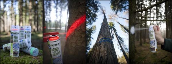 Forstmarkierfarbe im Einsatz - Bild: Distein