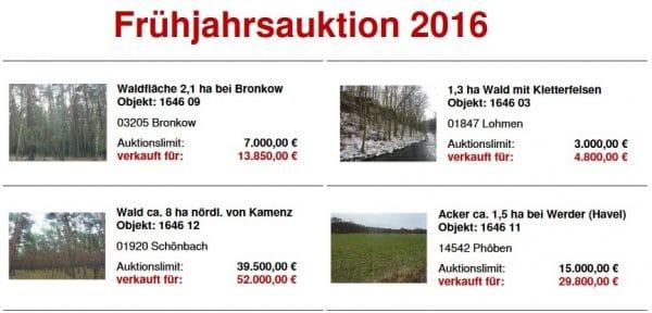 Ergebnisse der Frühjahrsauktion - Quelle: Hornig