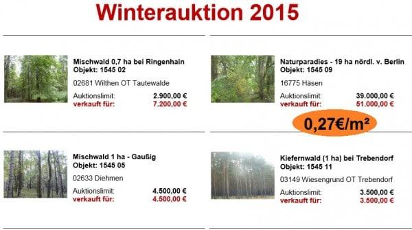 Winterauktion Ergebnisse Hornig Wald 2015