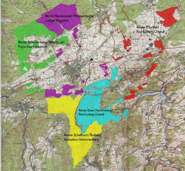 Der Briloner Stadtforst ist in fünf Reviere unterteilt - Karte: Brilon Forst
