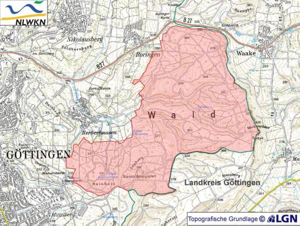 """Das ca. 1193 ha große Naturschutzgebiet """"Stadtwald Göttingen und Kerstlingeröder Feld"""" ist ein repräsentativer Teilbereich des größten zusammenhängenden Kalk-Buchenwald-Komplexes innerhalb des Naturraums Weser- und Leinebergland in Südniedersachsen - Karte: LGN"""