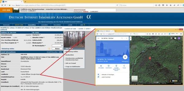 Bequemer Link zu Google Maps - Screenshot: DIIA.de