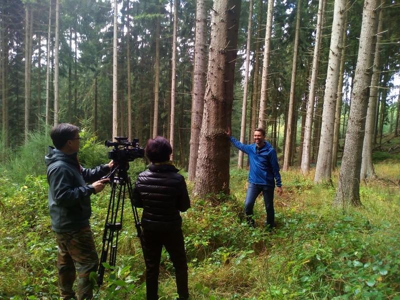 Das Filmteam vom koreanischen Fernsehen interviewt Markus Kreusch in seinem Wald - Bild: Wald-Prinz.de